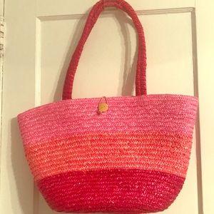 NWT Straw Purse/ Beach Bag in Ombré Pink